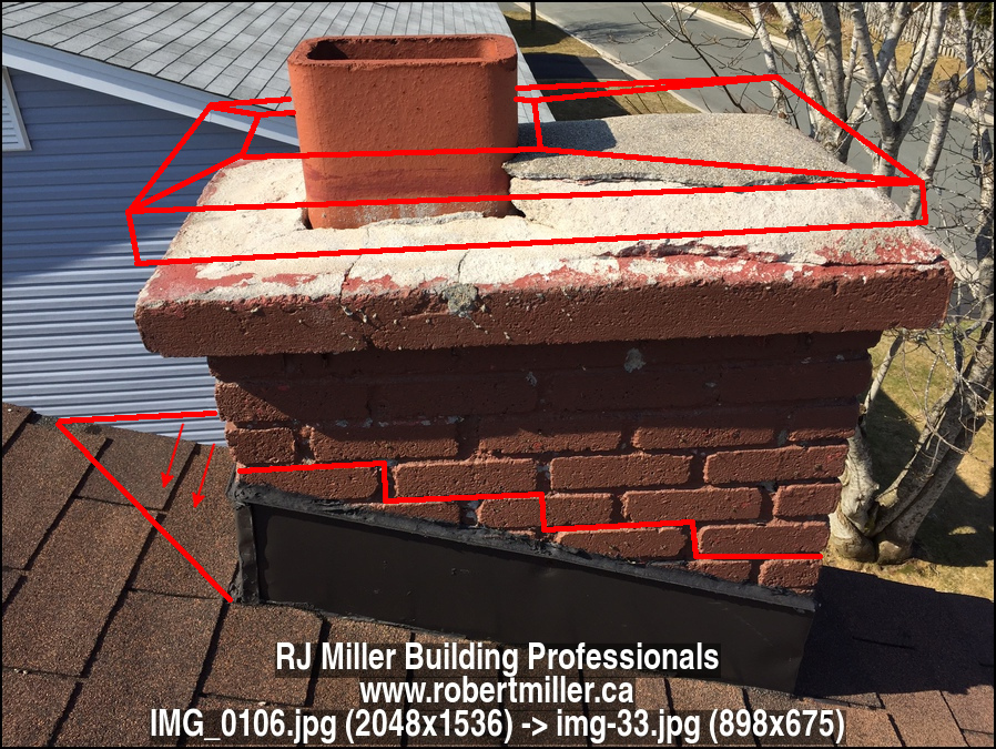 Defective chimney crown, cap, and flashing.
